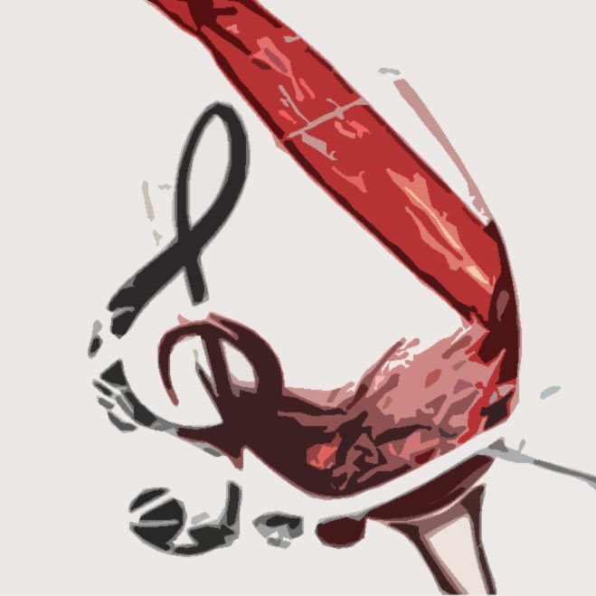 Image of a cup receiving wine and transforming it to a musical note
