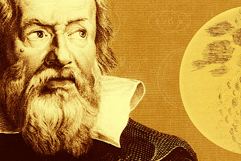 Image of Galileo contemplating a star